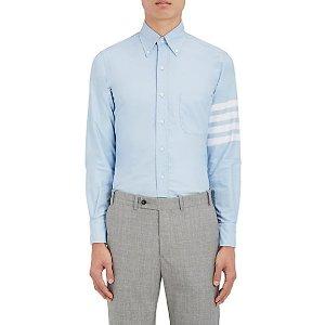 Striped-Sleeve Cotton Oxford Cloth Shirt