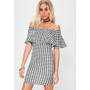 Missguided - Black Gingham Layer Bardot Dress