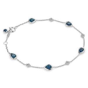 Sapphire and Diamond Bezel Bracelet in 18k White Gold (5x4mm) | Blue Nile