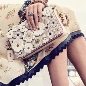 最高送$600礼卡Coach 1941手袋促销 入浮雕花朵美包、樱桃系列