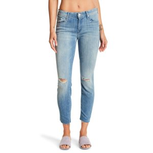 The Looker Ankle Cropped Raw-Edge Skinny Jeans