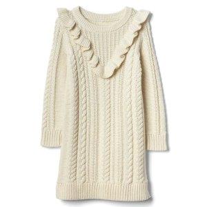 Cable knit ruffle sweater dress
