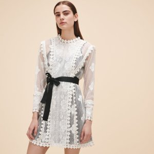 ROINE Lace dress with belt - Dresses - Maje.com