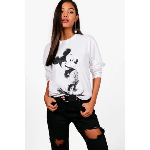 Amy Disney Mickey Sketch Print Long Sleeve Tee | Boohoo