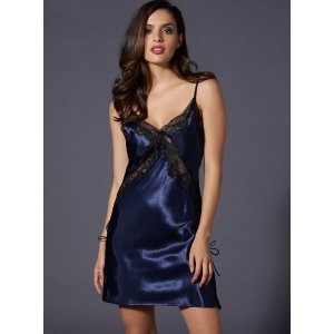 Madison Satin Chemise - Navy | Boux Avenue