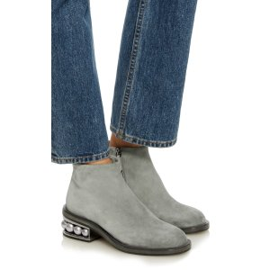 Stone Embellished Suede Boots