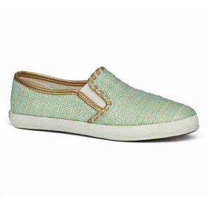Canvas Slip on Sneaker | Green Woven Designer Sneaker
