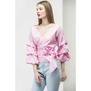 Ruched Sleeve Wrap Blouse GLTP0006