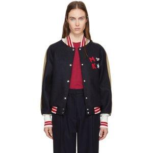 Maison Kitsuné - Navy Bicolor Teddy Bomber Jacket
