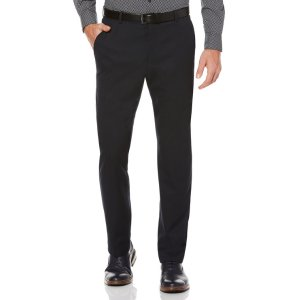 Solid Textured Suit Pant - Perry Ellis