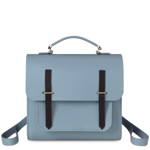 French Grey and Dark Brown Bridle Bridge Closure Backpack | The Cambridge Satchel Company