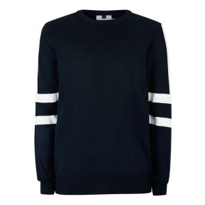 Navy and White Sleeve Stripe Sweater - View All Sale - Sale - TOPMAN USA