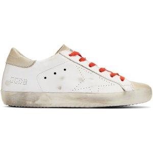 Golden Goose: White & Red Superstar Sneakers | SSENSE