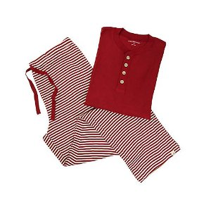 Mens Organic Henley Candy Cane Stripe Pajama Set