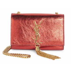 Saint Laurent - Small Kate Monogram Tassel Metallic Leather Chain Shoulder Bag - saks.com
