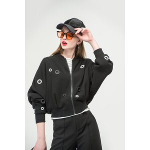 Black Jacket With Ring Detail OU0737