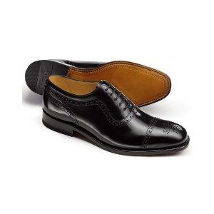 Black Parker toe cap brogue Oxford shoes | Charles Tyrwhitt