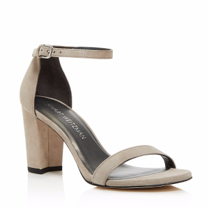 Nearlynude Suede Ankle Strap Block Heel Sandals