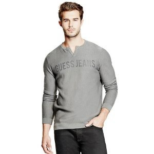 Beck Logo Slit-Neck Sweater | GuessFactory.com