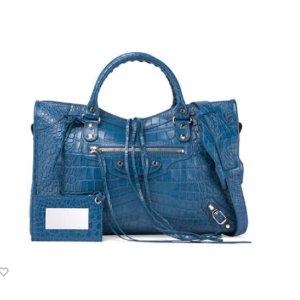 Balenciaga Classic City Crocodile-Embossed Shoulder Bag