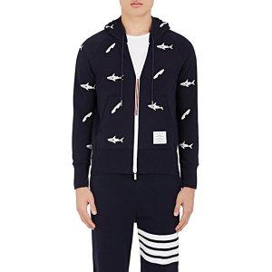 Thom Browne Shark- & Surfboard-Embroidered Cotton Sweatshirt | Barneys New York