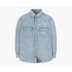 Toddler Boys (2T-4T) Barstow Western Shirt   Blue Chambray with Paint Splatter