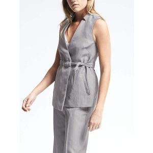Heritage Wrap Belted Vest | Banana Republic