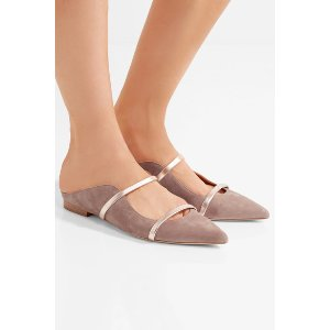 Malone Souliers | Metallic leather-trimmed suede point-toe flats