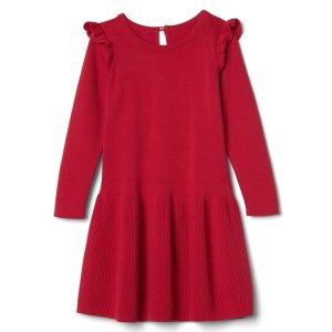 Long sleeve ruffle sweater dress