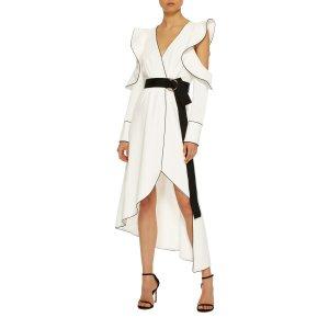 Asymmetric Crepe Wrap Dress