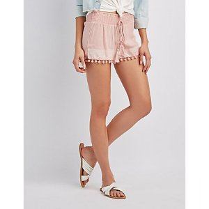 Embroidered Smocked Shorts | Charlotte Russe