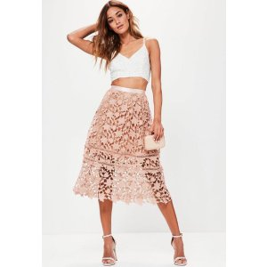 Premium Pink Crochet Lace Full Midi Skirt