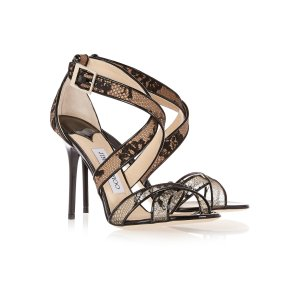 Lottie lace-covered mesh and patent-leather sandals | Jimmy Choo