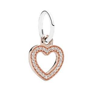 PANDORA Symbol of Love 14K Rose Gold Plated & Silver CZ Heart Charm