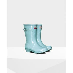 Womens Blue Short Gloss Rain Boots | Official US Hunter Boots Store