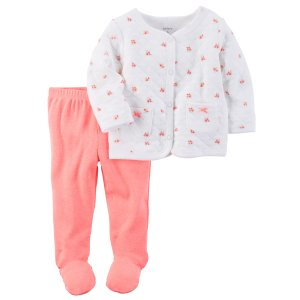 Baby Girl 2-Piece Neon Babysoft Footed Pant Set | Carters.com
