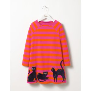 Black Cats Dress (Party Pink/Orange Red Stripe)