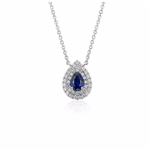 Sapphire and Diamond Double Halo Pendant in 18k White Gold (6x4mm) | Blue Nile