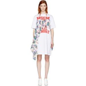 MSGM: White Draped Floral Panel Dress