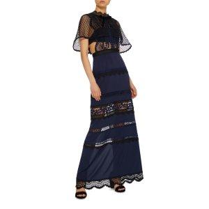 Bellis Cape-Back Lace Maxi Dress | Moda Operandi