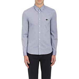 Kenzo Logo Embroidered Oxford-Cloth Slim Shirt | Barneys New York