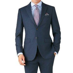 Blue slim fit twill business suit | Charles Tyrwhitt