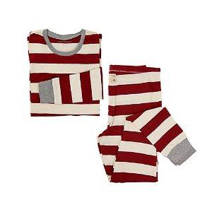 Womens Organic Rugby Stripe Pajama Set