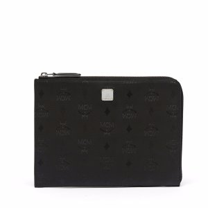 Small Claudia Half Zip Pouch in black by MCM
