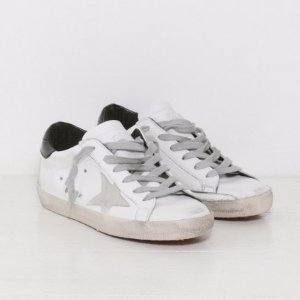Golden Goose Sneakers Superstar in White, Black, and Cream with Metal Lettering