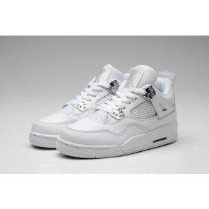 Jordan Retro 4 - Men's - Basketball - Shoes - White/Metallic Silver/Pure Platinum