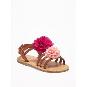 Chiffon-Rosette Sandals for Toddler Girls