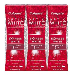 Colgate Optic White Toothpaste, 3oz 3 pack, Platinum Express White
