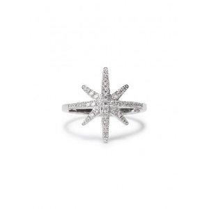 Crystal-embellished sterling silver star ring