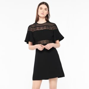 Lace Dress And Cape-Effect Sleeves - Dresses - Sandro-paris.com